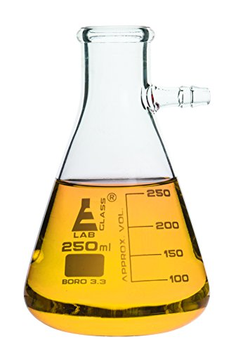 EISCO Filtering Flask, 250ml, borosilicate glass ( Single Flask) 50ml graduations with integrated side arm Flask Side Arm
