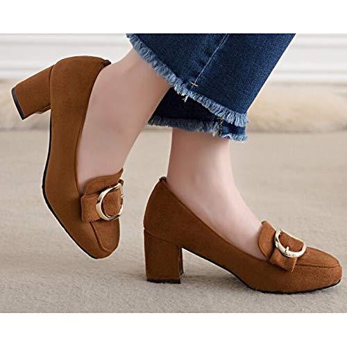Pump Heels Brown Spring QOIQNLSN Green Basic Brown Polyurethane Shoes Heel Chunky amp; Black Fall Pu Women'S Comfort qxgqvwRz