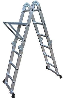 Neiko 01995 Folding Aluminum Ladder, 12.5-Ft Extended | 300 Lbs. Capacity from Ridgerock Tools Inc.