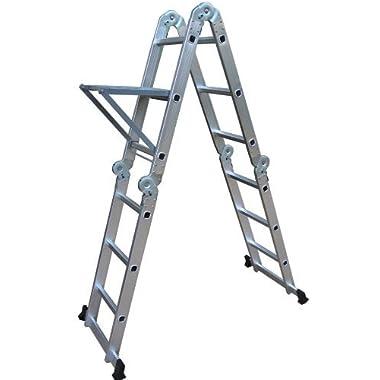 Neiko® 01995 Folding Aluminum Ladder, 12.5-Ft Extended | 300 Lbs. Capacity