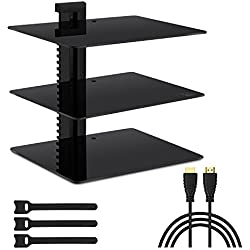"Three Floating DVD DVR Shelf – 3X Wall Mount AV Shelves (15x11 inch) with Strengthened Tempered Glass - for PS3, PS4, Xbox One, Xbox 360, TV Box & Cable Box - Bonus 6"" Slim HDMI Cable by PERLESMITH"