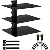 Three Floating DVD DVR Shelf – 3x Wall Mount AV Shelves (15x11 inch) with Strengthened Tempered Glass - for PS3, PS4, Xbox One, Xbox 360, TV box & Cable Box - Bonus 6' Slim HDMI Cable by PERLESMITH