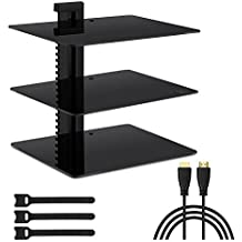 """Three Floating DVD DVR Shelf – 3X Wall Mount AV Shelves (15x11 inch) Strengthened Tempered Glass PS3, PS4, Xbox One, Xbox 360, TV Box & Cable Box - Bonus 6"""" Slim HDMI Cable PERLESMITH"""