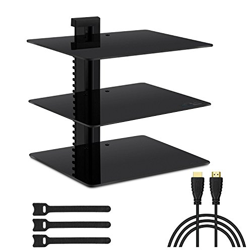 VR Shelf – 3x Wall Mount AV Shelves (15x11 inch) with Strengthened Tempered Glass - for PS3, PS4, Xbox One, Xbox 360, TV box & Cable Box - Bonus 6