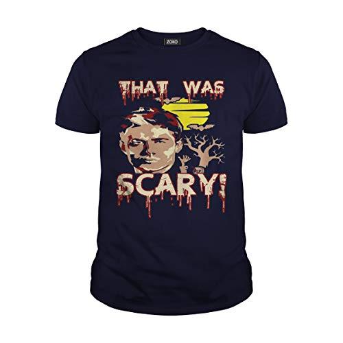Zoko Apparel Men's Thas was Scary Dean Halloween T-Shirt (3XL, Navy Blue) -