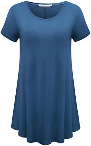 JollieLovin Women's Short Sleeve Loose Fit Flare Hem T Shirt Tunic Top