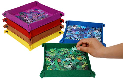 Bgraamiens Woolen Folding Button Style Puzzle Sorting Trays for Puzzles Up to 1000 Pieces-Square (Unique Trays)