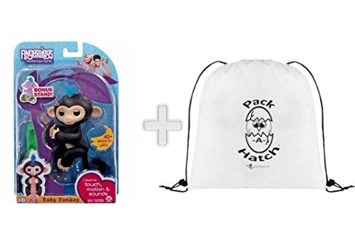 Wowwee Fingerlings Finn Black Baby Monkey Plus  Bonus Stand  With Exclusive Packahatch Backpack