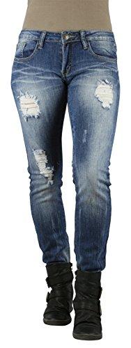MACHINE JEANS Medium Wash Destroyed Skinny Jeans - Waist 1