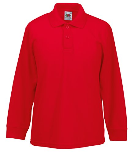 Fruit of the Loom Kids Long Sleeve Pique Polo Shirt 40856 Red