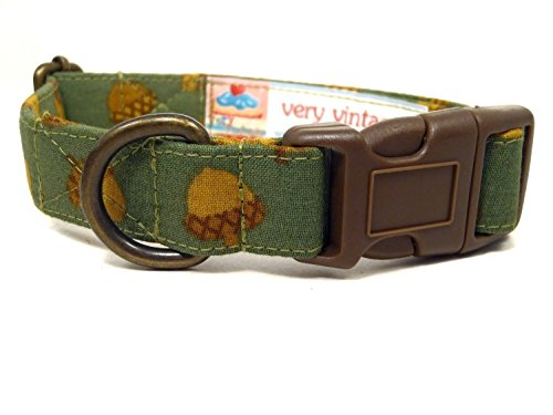 Nutty Buddy - Green Acorn Fall Autumn Seasonal Organic Cotton Pet Collar - Handmade in the USA