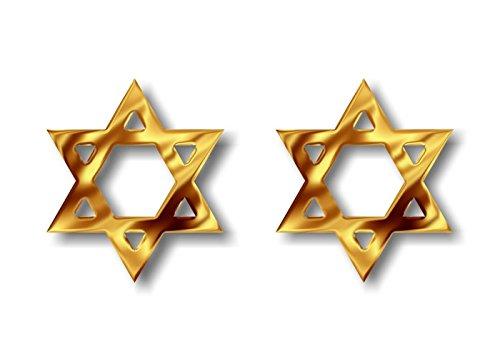 2 Liquid GOLD Effect Print STAR OF DAVID Religious Symbol Decal Sticker Jewish Hebrew Shield of David Magen David Vinyl Vehicle Religion Decals Stickers (Star of David - Gold) -