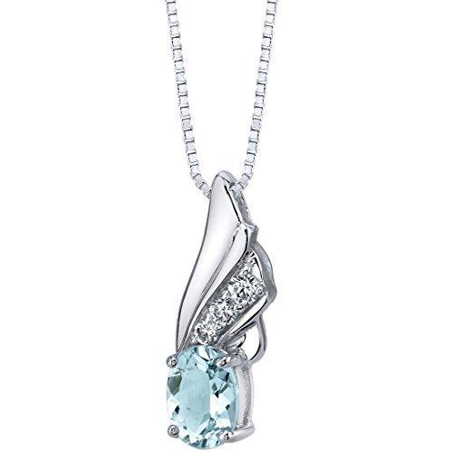 Aquamarine Angel Wing Pendant Necklace Sterling Silver 1.25 carats Premium Grade Aquamarine Pendant