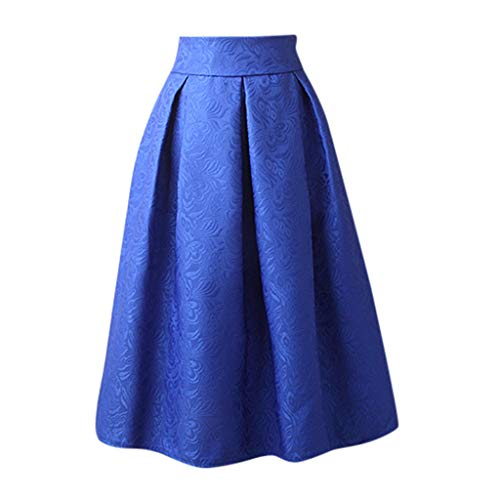 iCODOD Womens Casual Skirt, Solid Color Jacquard Tutu Grey Side Zipper Tie Front Overlay Pants Ruffle Bow Mid Dress(Blue,3XL)
