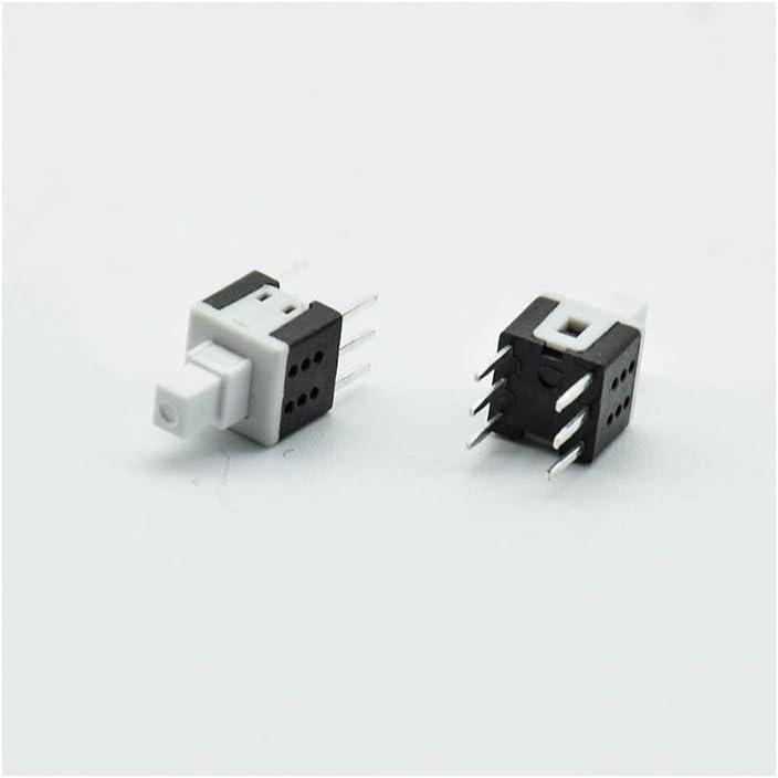 10pcs 5.8 /× 5.8 Auto-bloqueo//reposici/ón del teclado PCB Micro interruptor pulsador de bloqueo t/áctil poder de auto encendido//apagado enclavamiento 6pin Mini 12V0.1A,10Self-locking
