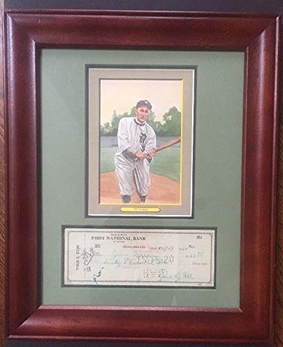 Ty Cobb Autographed Signed Personal Check Framed W/Perez Steele Photo Autograph - JSA Authentic