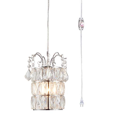 Plug in Crystal Pendant Light with Clear 15' Cord and In-Line On/Off Dimmer Switch, Chrome Finish Cylinder Style, Perfect Swag Chandelier for Bed Room, Dining Room or Hallway (Dimmer Chrome Switch)
