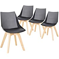 AOSUN Set of 4 Mid Century Dining Chair Padded Seat Plastic Shell Chairs With Wooden Legs For Bedding Living Kitchen Lounge,Black