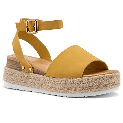 Shoe Land Legossa Womens Open Toe Ankle Strap Platform Wedge Shoes Casual Espadrilles Trim Flatform Studded Wedge Sandals Mustard 9.0 (Platform Shoes Yellow)