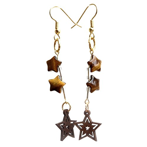 (SatinCrystals Tigers Eye Golden Earrings Boutique Brown Genuine Gemstone Star Wood Cutout Dangle Handmade B01 (2.9, Gold-Plated-Stainless-Steel))