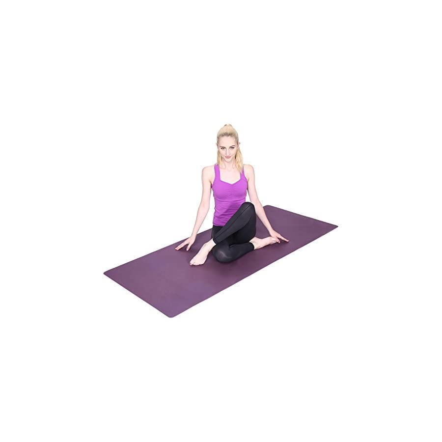 Lhotsex LHOTSEE 1/4 Inch Exercise Yoga Mat, Eco Friendly Non Slip Exercise Yoga Mat for Pilates Fitness and Workout