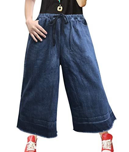 YESNO PT0 Women Fashion Casual Denim Cropped Pants Flare Wide Leg Jeans Drawstring Elastic Waist/Pockets ()