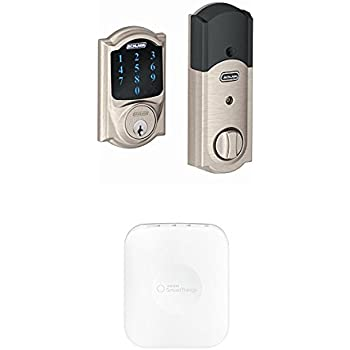 Schlage Z-Wave Connect Camelot Touchscreen Deadbolt, Satin Nickel with Samsung SmartThings Smart