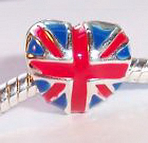 Glamorise Beads #14050 British Flag Heart UK United Kingdom England Bead for European Charm Bracelets