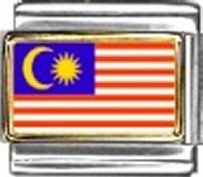 Art Italian Charm - Malaysia Photo Flag Italian Charm Bracelet Jewelry Link