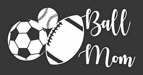 Barking Sand Designs Ball Mom Baseball Football Soccer - Die Cut Vinyl Window Decal/Sticker for Car/Truck