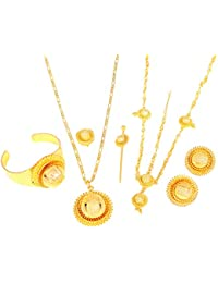 24K Gold Ethiopian Set Jewelry Pendant Chain Clip Earring Ring Bangle Hair Piece African Habesha