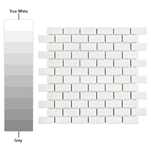 SomerTile FKOVBS11 Marion Subway Porcelain Mosaic Floor and Wall Tile, 11.875'' x 12'', Glossy White by SOMERTILE (Image #1)