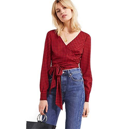 Women Red Plaid Casual Belt Waist Uo Cropped Gingham Wrap Blouse Ol Lady Elegant Shirts