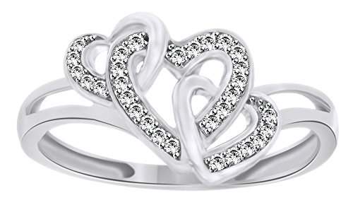 White Natural Diamond Triple Heart Promise Ring in 14k Solid White Gold (0.1 Cttw) - Gold Triple Heart Ring