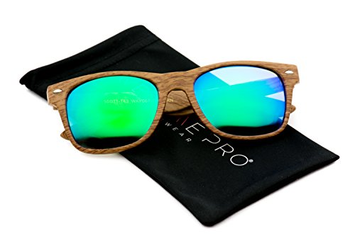 Faux Wood Reflective Revo Color Lens Horn Rimmed Sunglasses (Light Wood Print / Mirror Green, - Sunglasses Wood Men