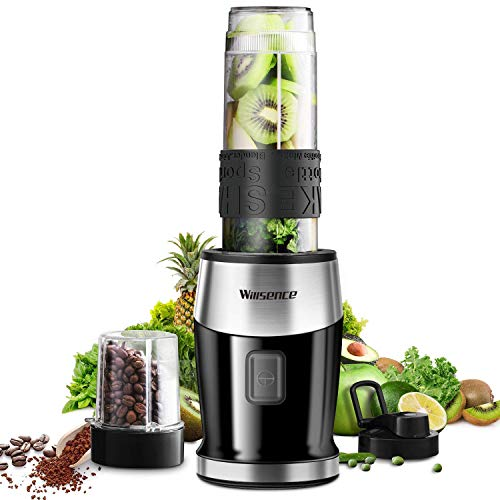 Smoothie Blender 2-in-1 System Personal Blender Powerful 300W (24,000RMP) 4 Sharp Blades for Smoothie and Shakes, Small Blender with 20 oz Portable Sports Bottle, Grinder Cup, Travel Lid