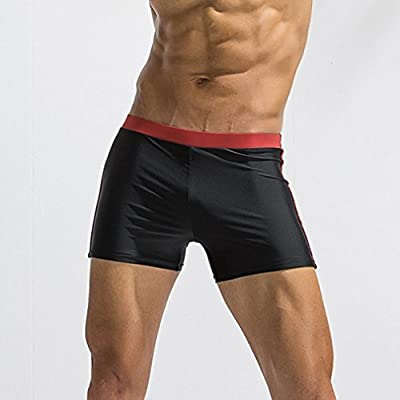 7c36ca8bde Amazon.com: Elogoog Swim Trunks, Men's Swimming Trunks Boxer Brief Color  Block Swimsuit Seamless Slim Wear Swim Boardshorts (L, Wine Red): Home  Audio & ...