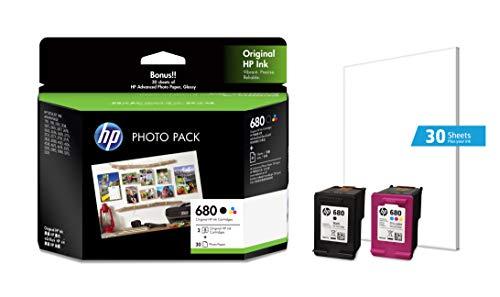HP 680 Ink Cartridges Combo Pack (1 Black Cartridge + 1 tri-Color Cartridge + 30 Photo Paper Sheets)