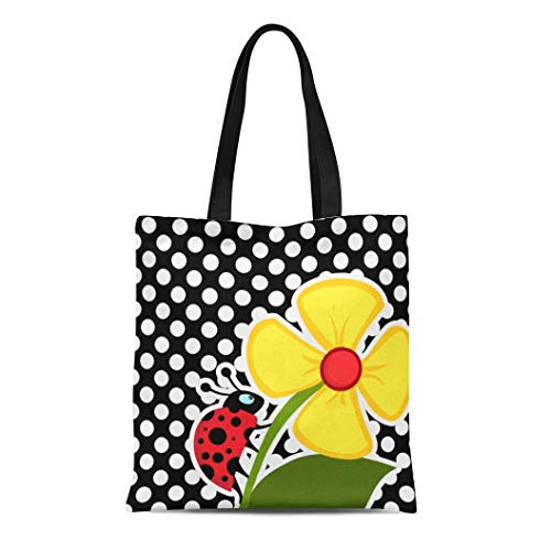 Semtomn Cotton Line Canvas Tote Bag Red Cute Ladybug on Black and White Polka Girly Reusable Handbag Shoulder Grocery Shopping Bags