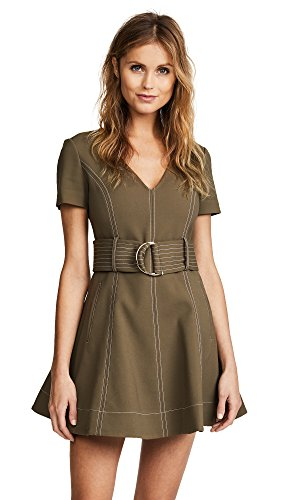 Diane von Furstenberg Women's D Ring Fit & Flare Dress, Olive, 8