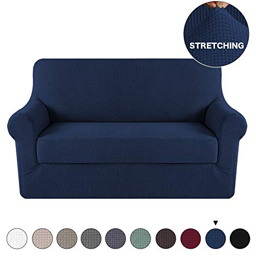 2 Piece Navy Sofa Slipcover Stretch Loveseat Slipcover Furniture Protector Sofa Cover, Spandex Stretch Fabric Super Soft Sofa Covers Anti-Slip Couch Slipcover Highly Fitness (Loveseat, Navy) ()