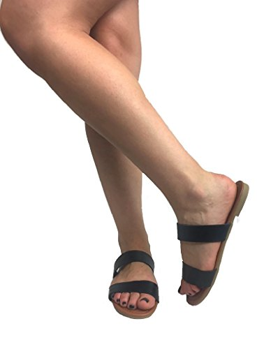 Black Slide on Collection Heel 2 Womens Slip Strap Sandal Annie The Double Low Flat O6qPx7T7w