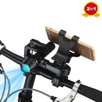 Bike Phone Mount, Mostfeel 2 in 1 Bicycle Phone Holder 360° Rotation Universal Motorcycle Handlebar Phone & Flashlight Mount Holder for iPhone, Samsung, Galaxy, LG, HTC, Nexus 5x, GPS Device, Black