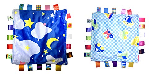 Little Taggie Like Theme Baby Sensory, Security & Teething Closed Ribbon Style Colors Security Comforting Teether Blanket - Night Sky & Vehicle 2-Pack w/Gift Box by J&C Family Owned