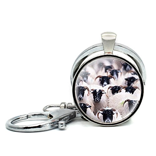 Keychain Round Pendant Suffolk Sheep Group Photo Glass Cabochon Key Rings Stainless Steel Metal Handmade Charm ()