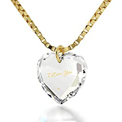 "Tiny Heart Pendant I Love You Necklace 24k Gold Inscribed on Clear Crystal Stone, 18"" Gold Filled Chain"