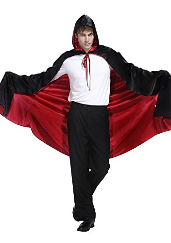 Halloween Christmas Cosplay Cloak Full Length Red Black Cape With Hood for Adults -