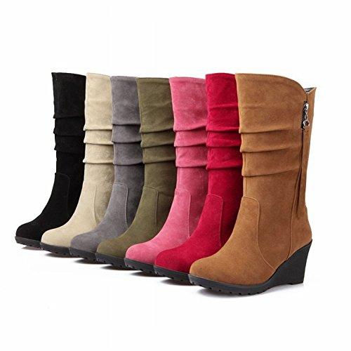 Femenina rosado Pendiente en Zapatos Botas Cabeza Redonda Botas Puro de EUR38 Color Las con Cálido Escarchada 5Tw6cnqcaB