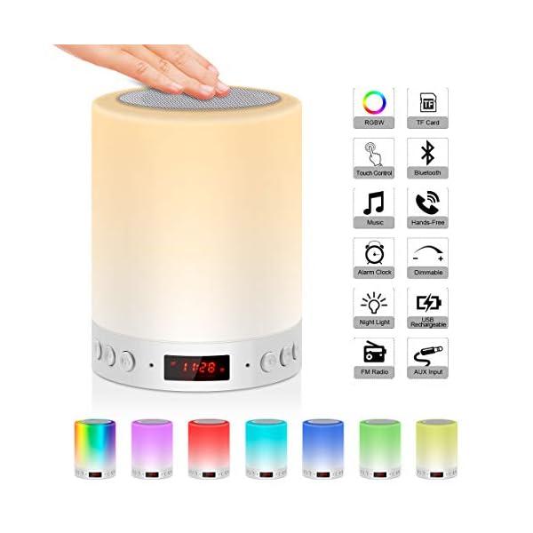 5 EN 1 Lampe de Chevet Tacile Rechargeable Portable,JOLVVN Lampe de Table Enceinte Bluetooth Musique USB FM Radio Réveil Numérique Lumière LED Multicolore Cadeau Hommes/Femmes/Enfants 1