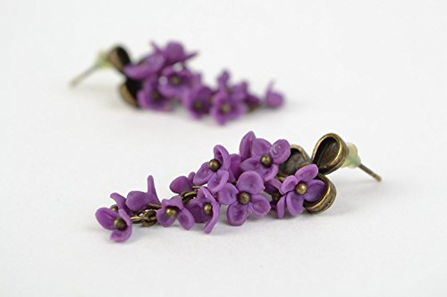 Beautiful Handmade Polymer Clay Flower Earrings Of Violet Color Lilac Date Flowers Earrings